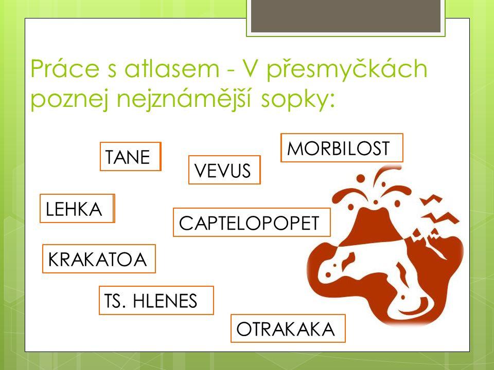 KRAKATOA POPOCATEPETL Práce s atlasem - V přesmyčkách poznej nejznámější sopky: VESUV STROMBOLI HEKLA ST. HELENS LEHKA MORBILOST VEVUS ETNATANE CAPTEL