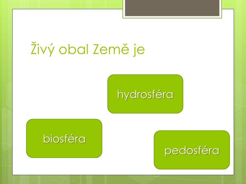 Živý obal Země je hydrosféra biosféra pedosféra