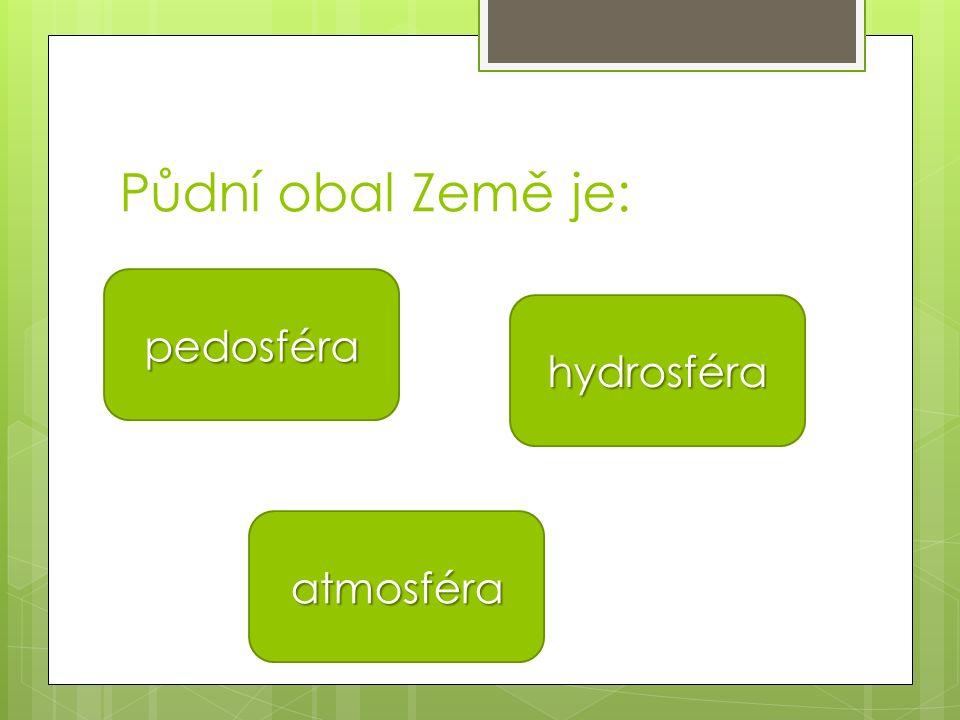Půdní obal Země je: pedosféra atmosféra hydrosféra