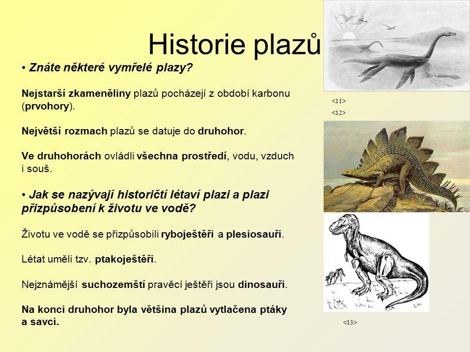 Historie plazů Znáte některé vymřelé plazy.