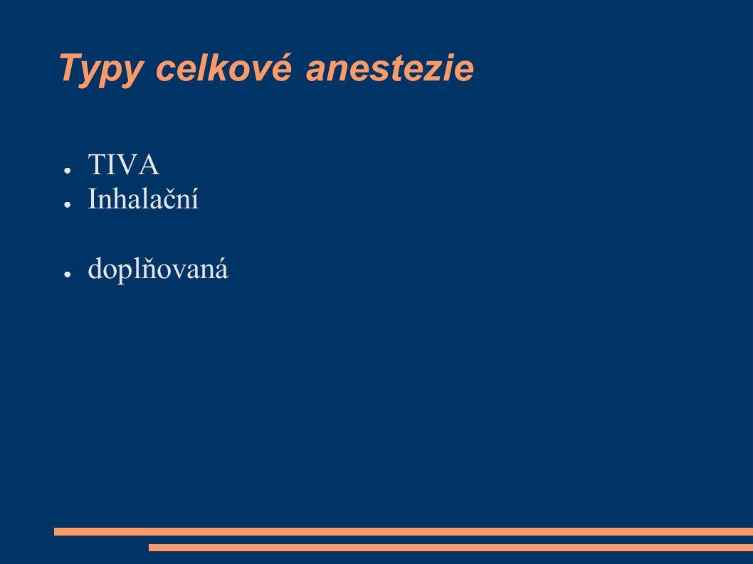 Průběh anestezie ● Úvod (indukce anestezie): – i.v., – inhalační + zajištění dýchacích cest.