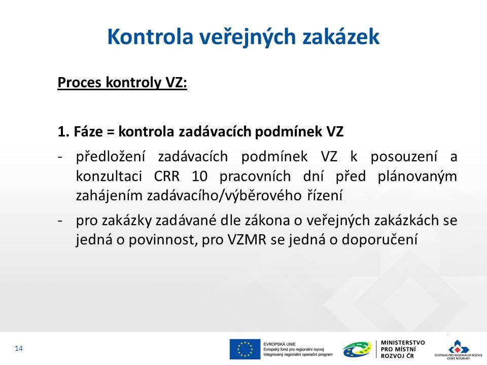 Proces kontroly VZ: 1. Fáze = kontrola zadávacích podmínek VZ -předložení zadávacích podmínek VZ k posouzení a konzultaci CRR 10 pracovních dní před p