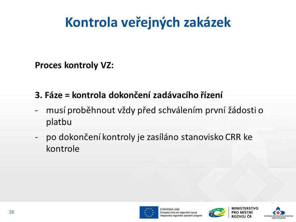 Proces kontroly VZ: 3. Fáze = kontrola dokončení zadávacího řízení -musí proběhnout vždy před schválením první žádosti o platbu -po dokončení kontroly