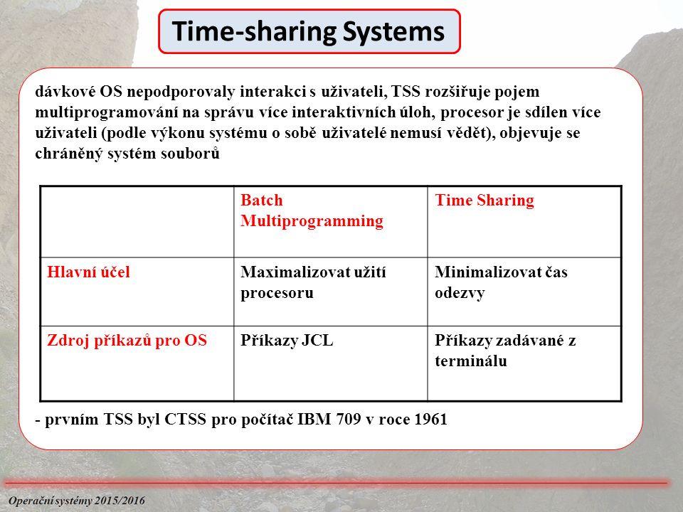 dávkové OS nepodporovaly interakci s uživateli, TSS rozšiřuje pojem multiprogramování na správu více interaktivních úloh, procesor je sdílen více uživateli (podle výkonu systému o sobě uživatelé nemusí vědět), objevuje se chráněný systém souborů - prvním TSS byl CTSS pro počítač IBM 709 v roce 1961 Batch Multiprogramming Time Sharing Hlavní účelMaximalizovat užití procesoru Minimalizovat čas odezvy Zdroj příkazů pro OSPříkazy JCLPříkazy zadávané z terminálu Time-sharing Systems
