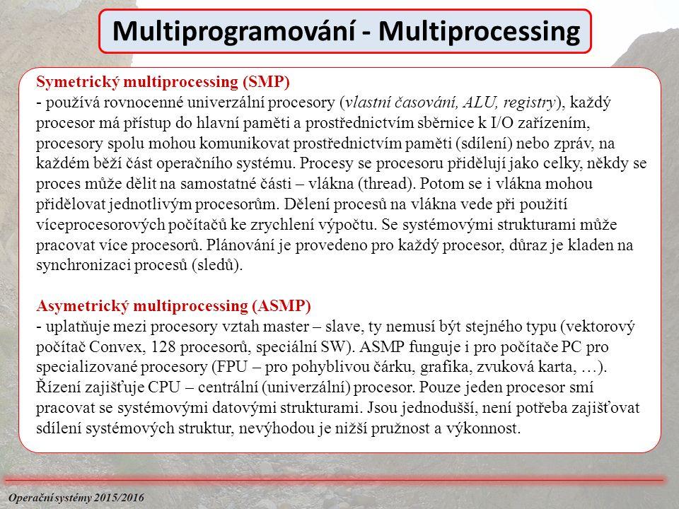 Symetrický multiprocessing (SMP) - používá rovnocenné univerzální procesory (vlastní časování, ALU, registry), každý procesor má přístup do hlavní paměti a prostřednictvím sběrnice k I/O zařízením, procesory spolu mohou komunikovat prostřednictvím paměti (sdílení) nebo zpráv, na každém běží část operačního systému.