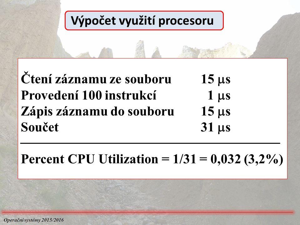 Čtení záznamu ze souboru15  s Provedení 100 instrukcí 1  s Zápis záznamu do souboru15  s Součet31  s Percent CPU Utilization = 1/31 = 0,032 (3,2%) Výpočet využití procesoru