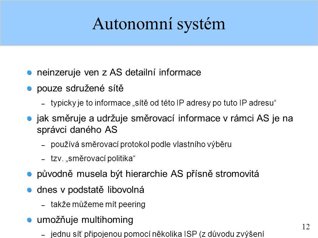 """12 Autonomní systém neinzeruje ven z AS detailní informace pouze sdružené sítě – typicky je to informace """"sítě od této IP adresy po tuto IP adresu"""" ja"""