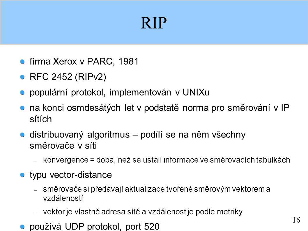 16 RIP firma Xerox v PARC, 1981 RFC 2452 (RIPv2) populární protokol, implementován v UNIXu na konci osmdesátých let v podstatě norma pro směrování v I