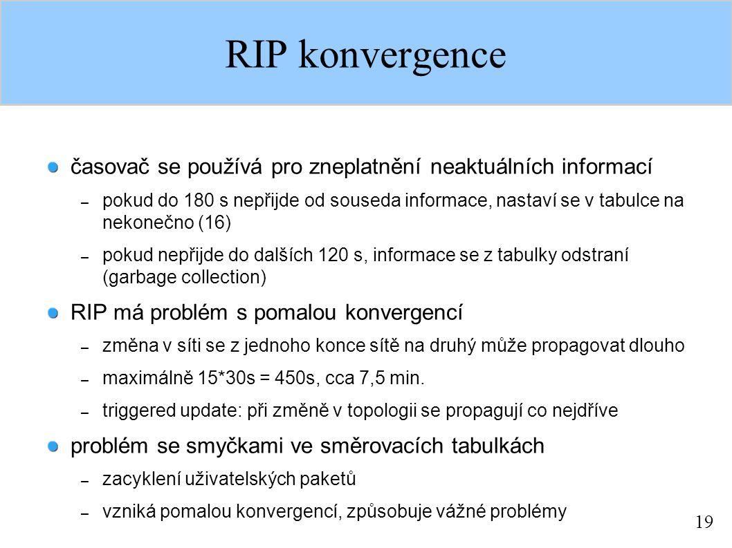 19 RIP konvergence časovač se používá pro zneplatnění neaktuálních informací – pokud do 180 s nepřijde od souseda informace, nastaví se v tabulce na n