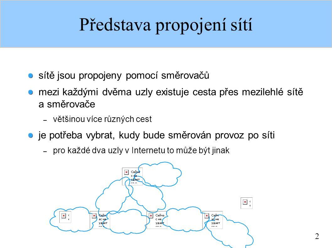 2 Představa propojení sítí sítě jsou propojeny pomocí směrovačů mezi každými dvěma uzly existuje cesta přes mezilehlé sítě a směrovače – většinou více