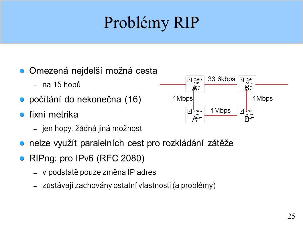 25 Problémy RIP Omezená nejdelší možná cesta – na 15 hopů počítání do nekonečna (16) fixní metrika – jen hopy, žádná jiná možnost nelze využít paralel