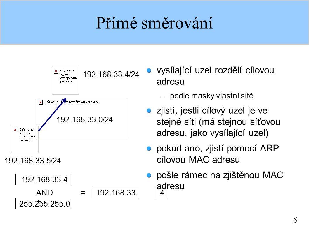 6 Přímé směrování vysílající uzel rozdělí cílovou adresu – podle masky vlastní sítě zjistí, jestli cílový uzel je ve stejné síti (má stejnou síťovou a