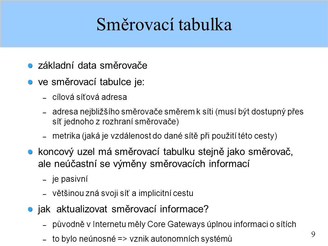 9 Směrovací tabulka základní data směrovače ve směrovací tabulce je: – cílová síťová adresa – adresa nejbližšího směrovače směrem k síti (musí být dos