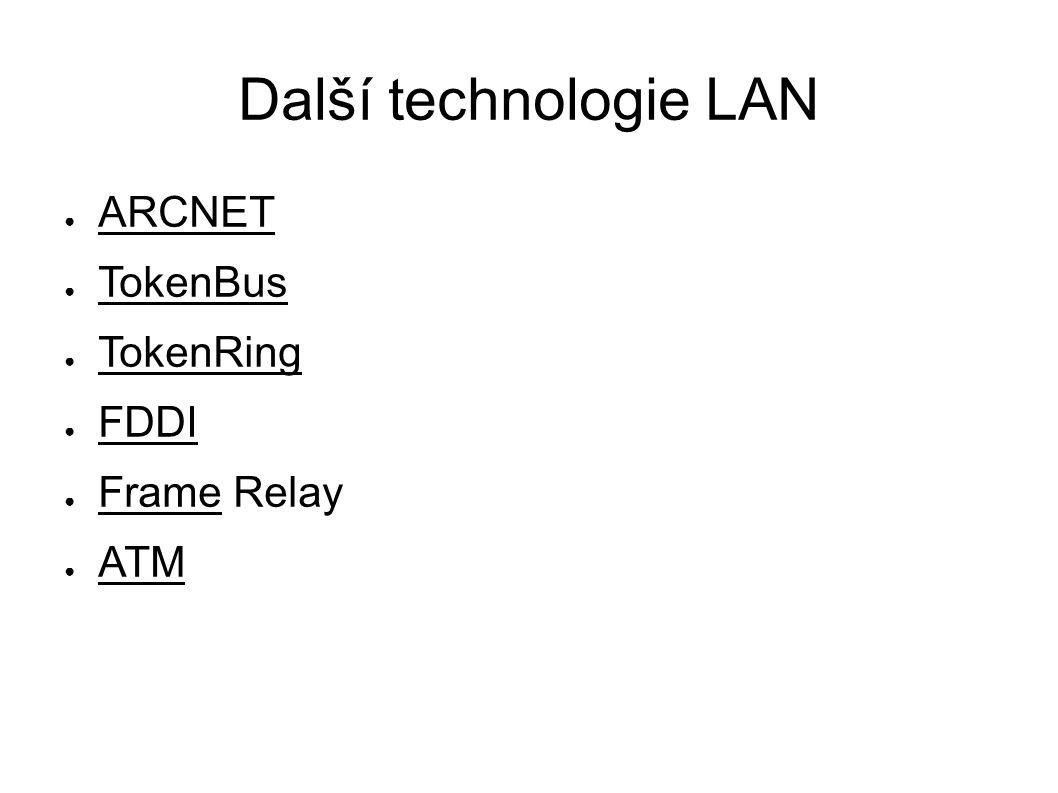 Další technologie LAN ● ARCNET ● TokenBus ● TokenRing ● FDDI ● Frame Relay ● ATM