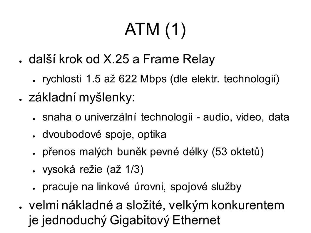ATM (1) ● další krok od X.25 a Frame Relay ● rychlosti 1.5 až 622 Mbps (dle elektr. technologií) ● základní myšlenky: ● snaha o univerzální technologi