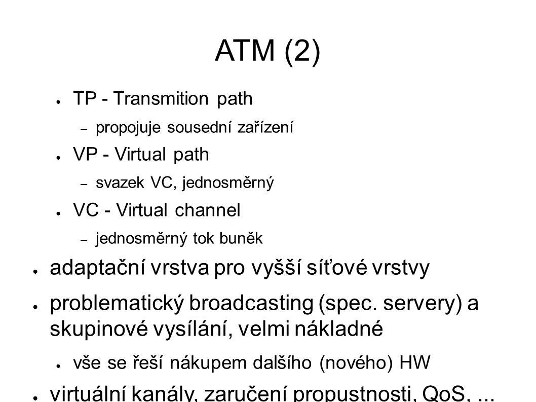 ATM (2) ● TP - Transmition path – propojuje sousední zařízení ● VP - Virtual path – svazek VC, jednosměrný ● VC - Virtual channel – jednosměrný tok buněk ● adaptační vrstva pro vyšší síťové vrstvy ● problematický broadcasting (spec.