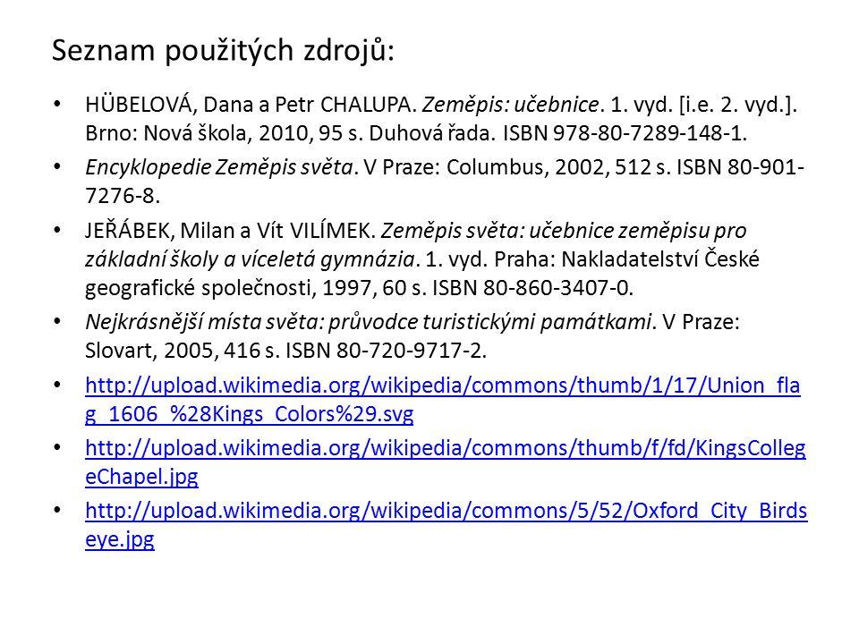 Seznam použitých zdrojů: HÜBELOVÁ, Dana a Petr CHALUPA.