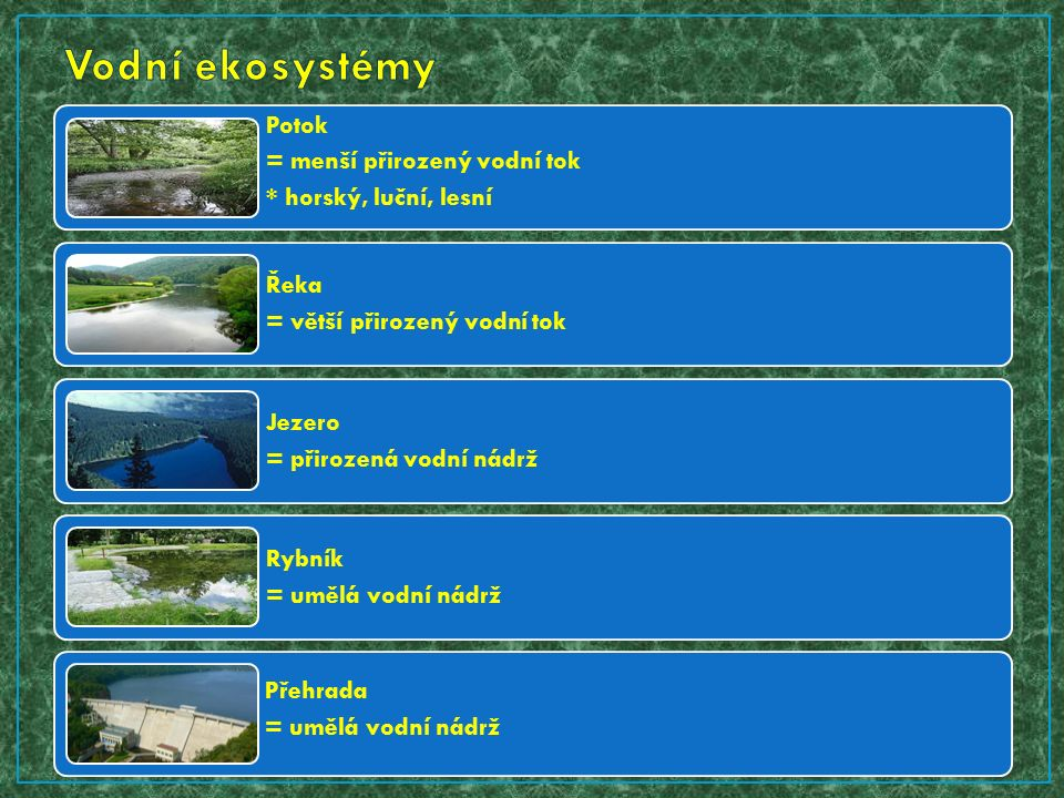 Potok = menší přirozený vodní tok * horský, luční, lesní Řeka = větší přirozený vodní tok Jezero = přirozená vodní nádrž Rybník = umělá vodní nádrž Přehrada = umělá vodní nádrž