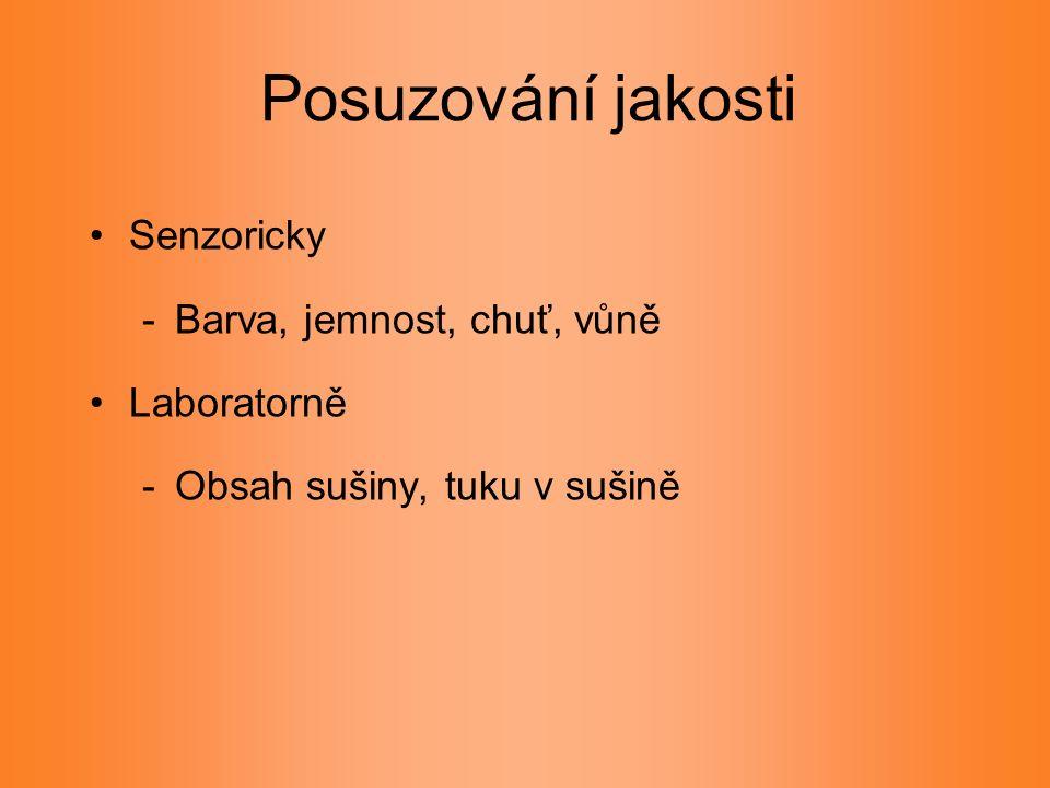 Posuzování jakosti Senzoricky -Barva, jemnost, chuť, vůně Laboratorně -Obsah sušiny, tuku v sušině