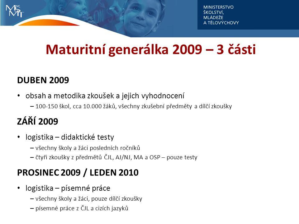 Maturitní generálka 2009 – 3 části DUBEN 2009 obsah a metodika zkoušek a jejich vyhodnocení – 100-150 škol, cca 10.000 žáků, všechny zkušební předměty a dílčí zkoušky ZÁŘÍ 2009 logistika – didaktické testy – všechny školy a žáci posledních ročníků – čtyři zkoušky z předmětů ČJL, AJ/NJ, MA a OSP – pouze testy PROSINEC 2009 / LEDEN 2010 logistika – písemné práce – všechny školy a žáci, pouze dílčí zkoušky – písemné práce z ČJL a cizích jazyků