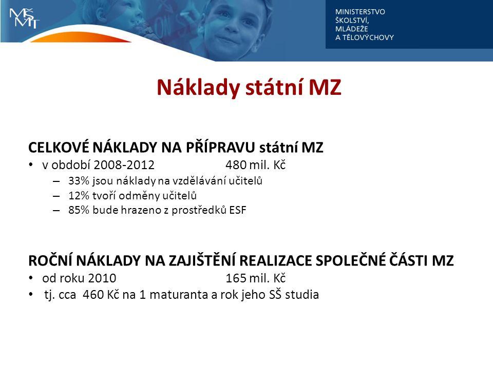 Náklady státní MZ CELKOVÉ NÁKLADY NA PŘÍPRAVU státní MZ v období 2008-2012 480 mil.