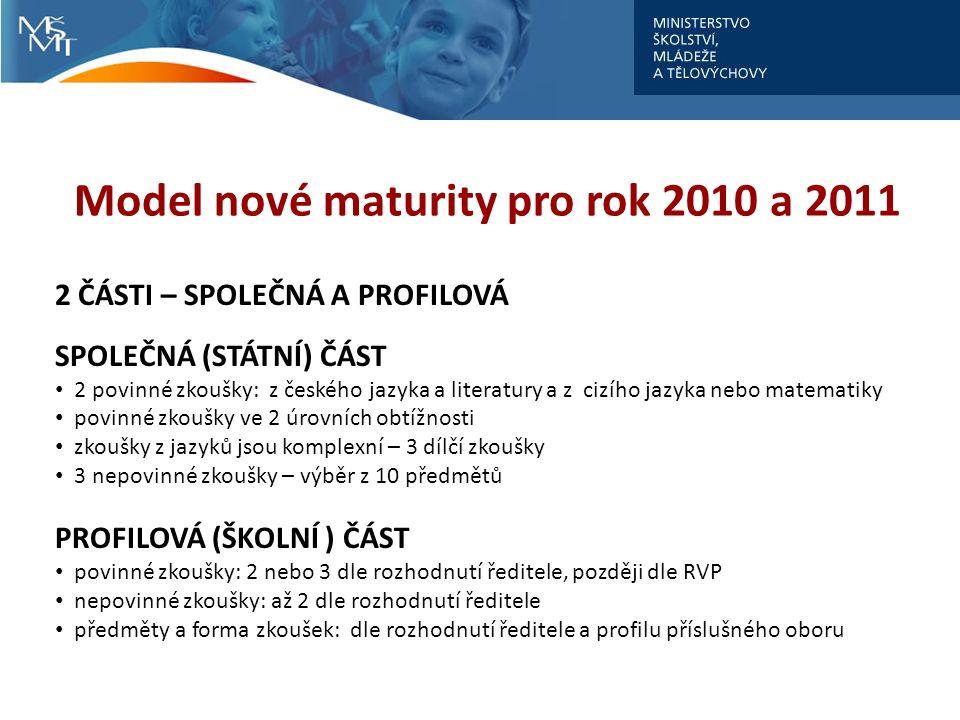 Model nové maturity pro rok 2010 a 2011 2 ČÁSTI – SPOLEČNÁ A PROFILOVÁ SPOLEČNÁ (STÁTNÍ) ČÁST 2 povinné zkoušky: z českého jazyka a literatury a z ciz
