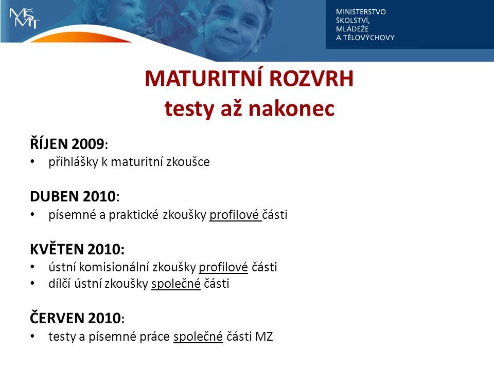 MATURITNÍ ROZVRH testy až nakonec ŘÍJEN 2009 : přihlášky k maturitní zkoušce DUBEN 2010: písemné a praktické zkoušky profilové části KVĚTEN 2010: ústn