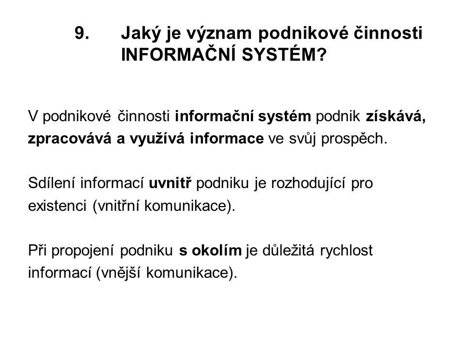 9.Jaký je význam podnikové činnosti INFORMAČNÍ SYSTÉM.