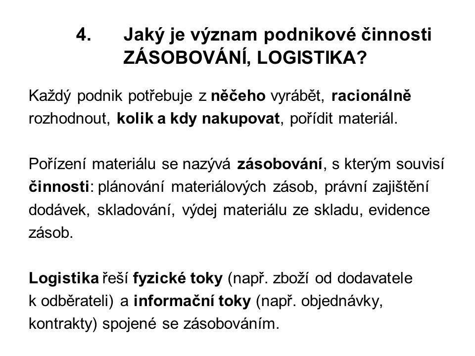 4.Jaký je význam podnikové činnosti ZÁSOBOVÁNÍ, LOGISTIKA.