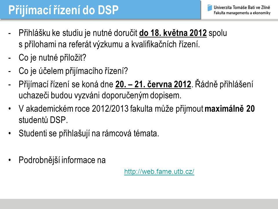 Přijímací řízení do DSP -Přihlášku ke studiu je nutné doručit do 18.