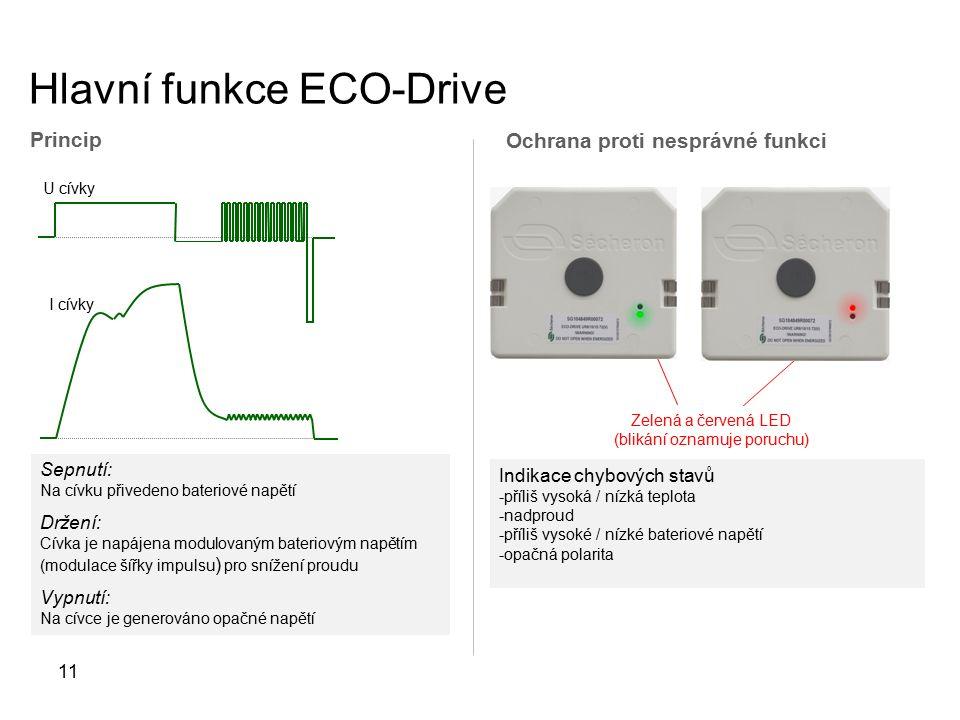 Hlavní funkce ECO-Drive 11 Sepnutí: Na cívku přivedeno bateriové napětí Držení: Cívka je napájena modulovaným bateriovým napětím (modulace šířky impulsu ) pro snížení proudu Vypnutí: Na cívce je generováno opačné napětí U cívky I cívky Princip Ochrana proti nesprávné funkci Zelená a červená LED (blikání oznamuje poruchu) Indikace chybových stavů -příliš vysoká / nízká teplota -nadproud -příliš vysoké / nízké bateriové napětí -opačná polarita
