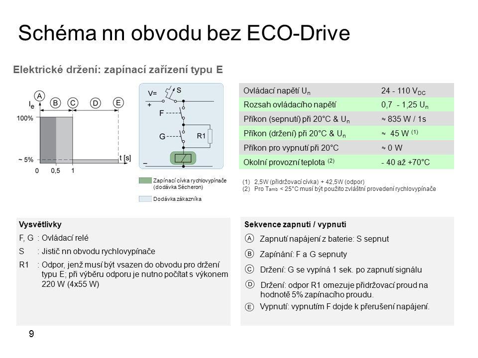 Schéma nn obvodu bez ECO-Drive 9 Vysvětlivky F, G: Ovládací relé S: Jistič nn obvodu rychlovypínače R1: Odpor, jenž musí být vsazen do obvodu pro držení typu E; při výběru odporu je nutno počítat s výkonem 220 W (4x55 W) Dodávka zákazníka Zapínací cívka rychlovypínače (dodávka Sécheron) Elektrické držení: zapínací zařízení typu E Ovládací napětí U n 24 - 110 V DC Rozsah ovládacího napětí0,7 - 1,25 U n Příkon (sepnutí) při 20°C & U n  835 W / 1s Příkon (držení) při 20°C & U n  45 W (1) Příkon pro vypnutí při 20°C  0 W Okolní provozní teplota (2) - 40 až +70°C Vypnutí: vypnutím F dojde k přerušení napájení.