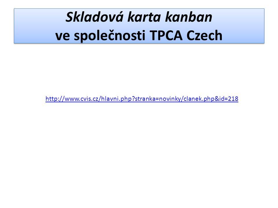 Skladová karta kanban ve společnosti TPCA Czech http://www.cvis.cz/hlavni.php?stranka=novinky/clanek.php&id=218