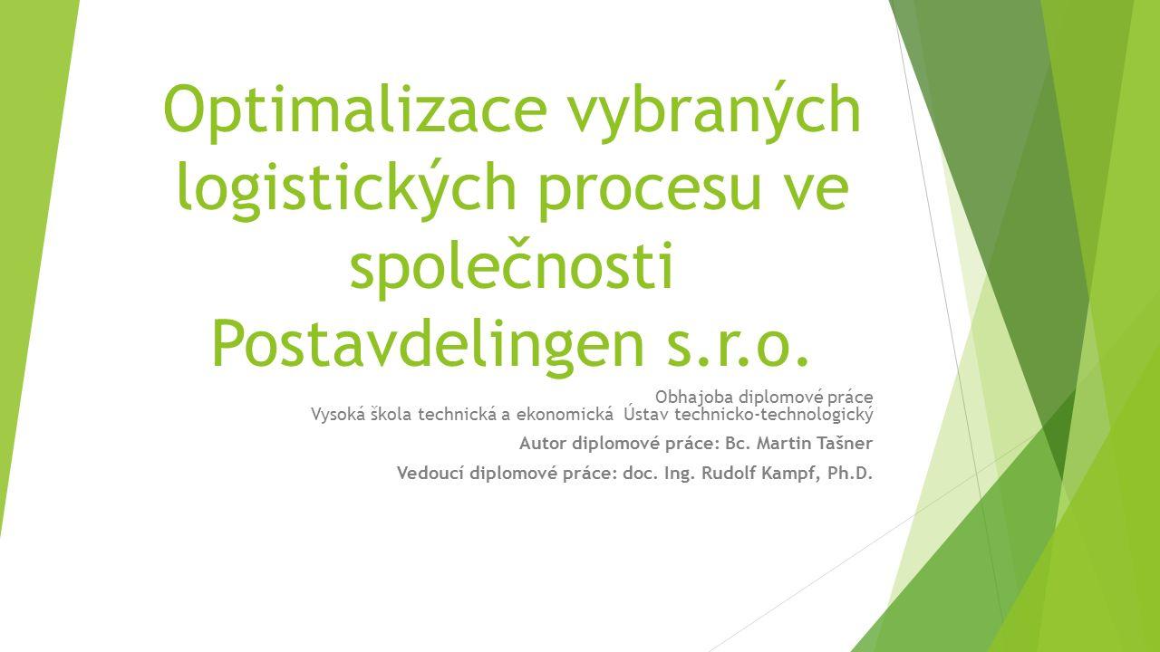 Optimalizace vybraných logistických procesu ve společnosti Postavdelingen s.r.o. Obhajoba diplomové práce Vysoká škola technická a ekonomická Ústav te