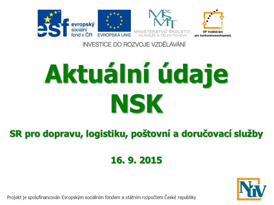 Aktuální údaje NSK SR pro dopravu, logistiku, poštovní a doručovací služby 16. 9. 2015 Projekt je spolufinancován Evropským sociálním fondem a státním