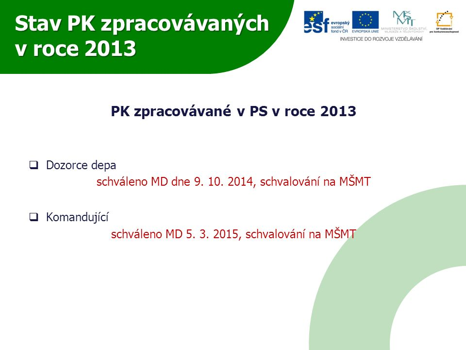 Stav PK zpracovávaných v roce 2013 PK zpracovávané v PS v roce 2013  Dozorce depa schváleno MD dne 9. 10. 2014, schvalování na MŠMT  Komandující sch