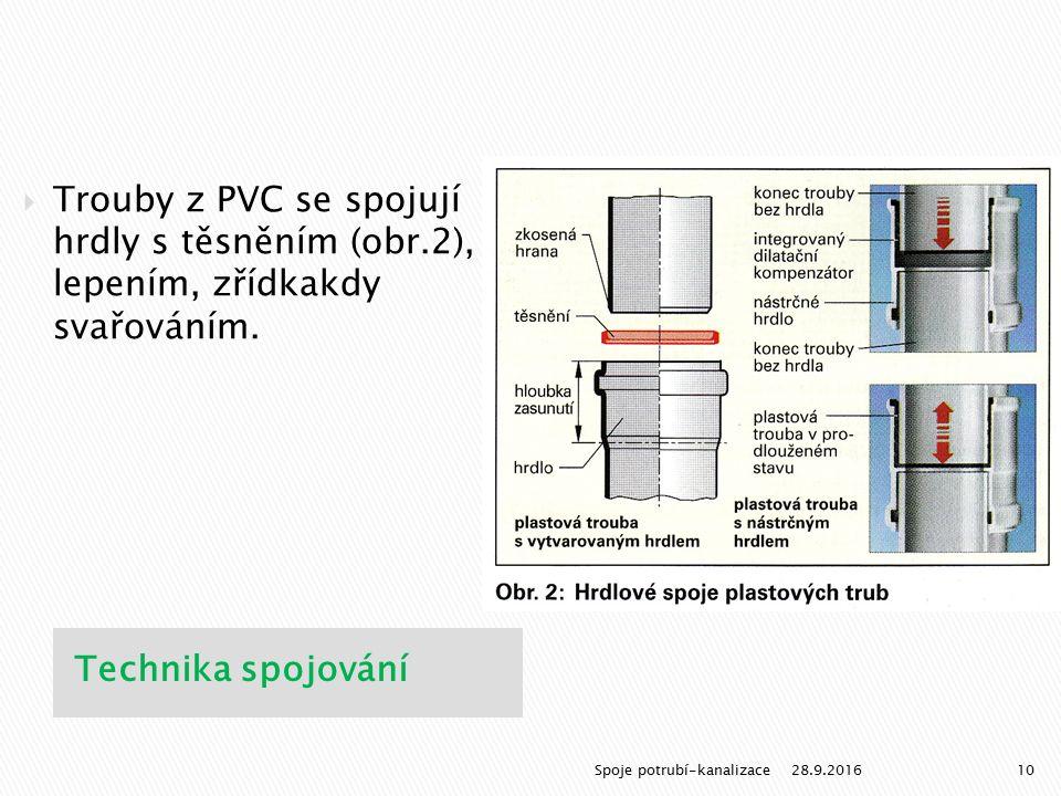 Technika spojování  Trouby z PVC se spojují hrdly s těsněním (obr.2), lepením, zřídkakdy svařováním. 28.9.201610Spoje potrubí-kanalizace