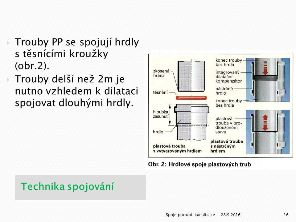 Technika spojování  Trouby PP se spojují hrdly s těsnícími kroužky (obr.2).  Trouby delší než 2m je nutno vzhledem k dilataci spojovat dlouhými hrdl