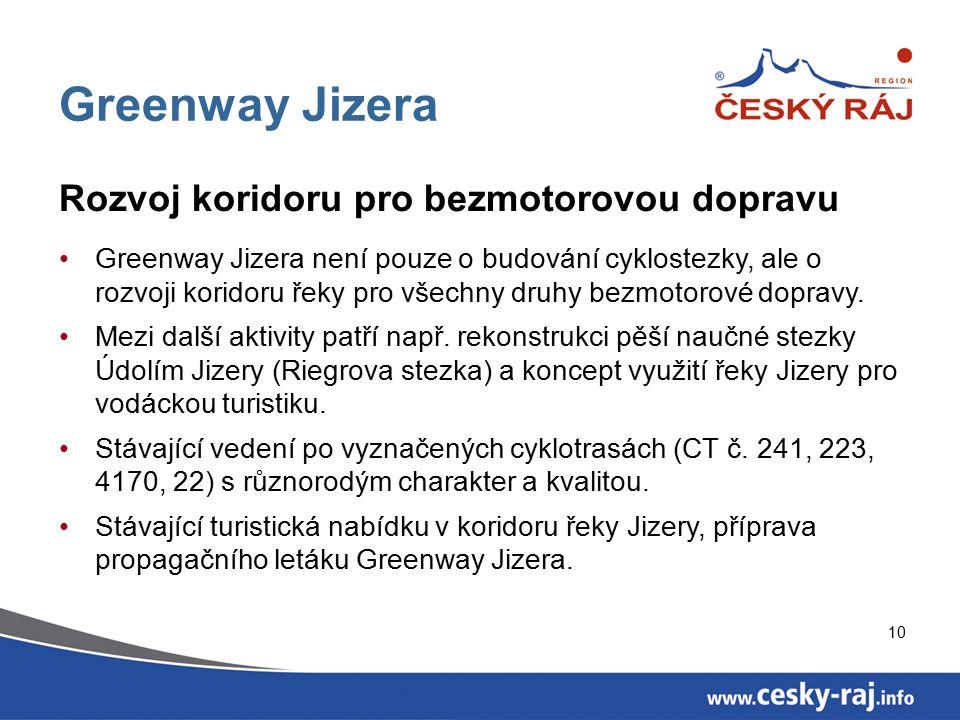 10 Greenway Jizera Rozvoj koridoru pro bezmotorovou dopravu Greenway Jizera není pouze o budování cyklostezky, ale o rozvoji koridoru řeky pro všechny druhy bezmotorové dopravy.