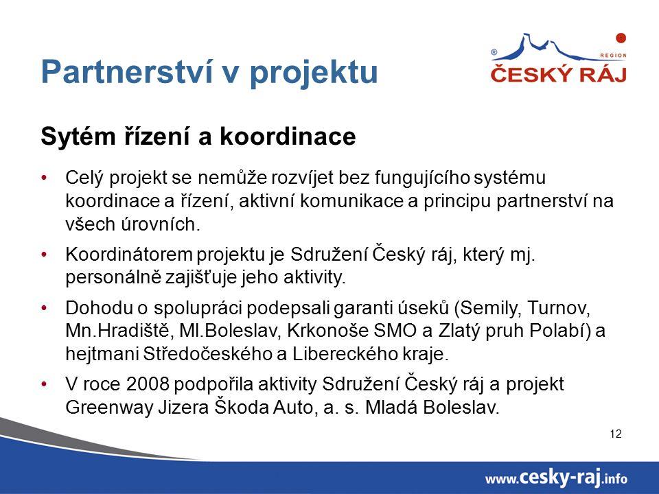 12 Partnerství v projektu Sytém řízení a koordinace Celý projekt se nemůže rozvíjet bez fungujícího systému koordinace a řízení, aktivní komunikace a principu partnerství na všech úrovních.
