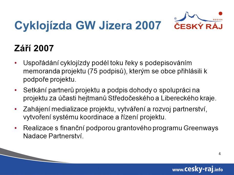 4 Cyklojízda GW Jizera 2007 Září 2007 Uspořádání cyklojízdy podél toku řeky s podepisováním memoranda projektu (75 podpisů), kterým se obce přihlásili k podpoře projektu.