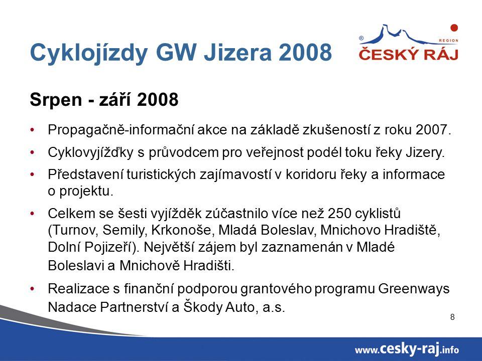 8 Cyklojízdy GW Jizera 2008 Srpen - září 2008 Propagačně-informační akce na základě zkušeností z roku 2007.