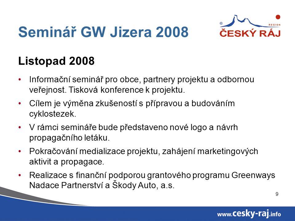 9 Seminář GW Jizera 2008 Listopad 2008 Informační seminář pro obce, partnery projektu a odbornou veřejnost.