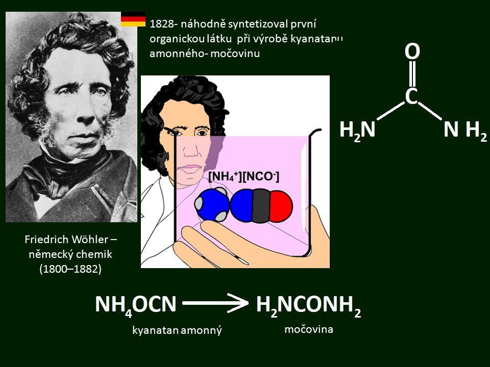 Friedrich Wöhler – německý chemik (1800–1882) 1828- náhodně syntetizoval první organickou látku při výrobě kyanatanu amonného- močovinu močovina kyana