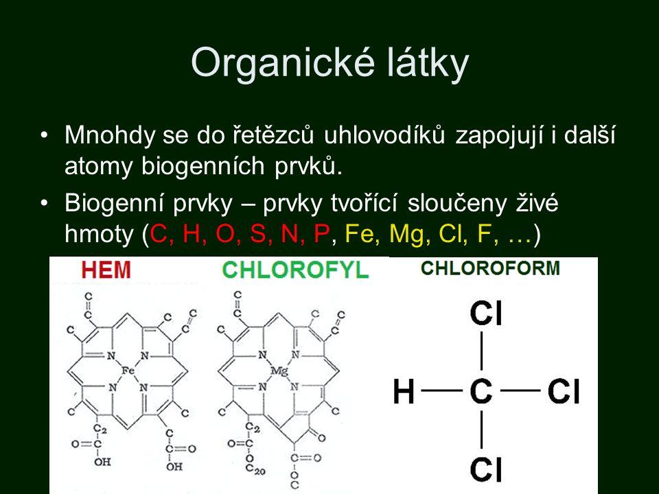 Organické látky Mnohdy se do řetězců uhlovodíků zapojují i další atomy biogenních prvků. Biogenní prvky – prvky tvořící sloučeny živé hmoty (C, H, O,