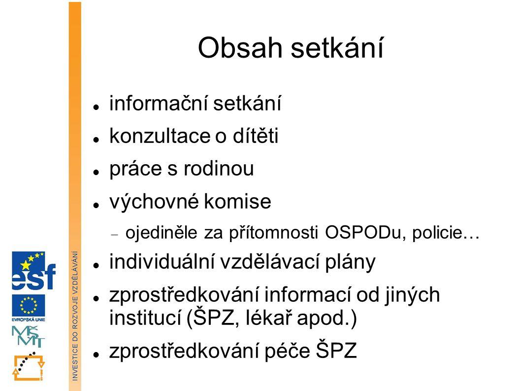Obsah setkání informační setkání konzultace o dítěti práce s rodinou výchovné komise  ojediněle za přítomnosti OSPODu, policie… individuální vzděláva