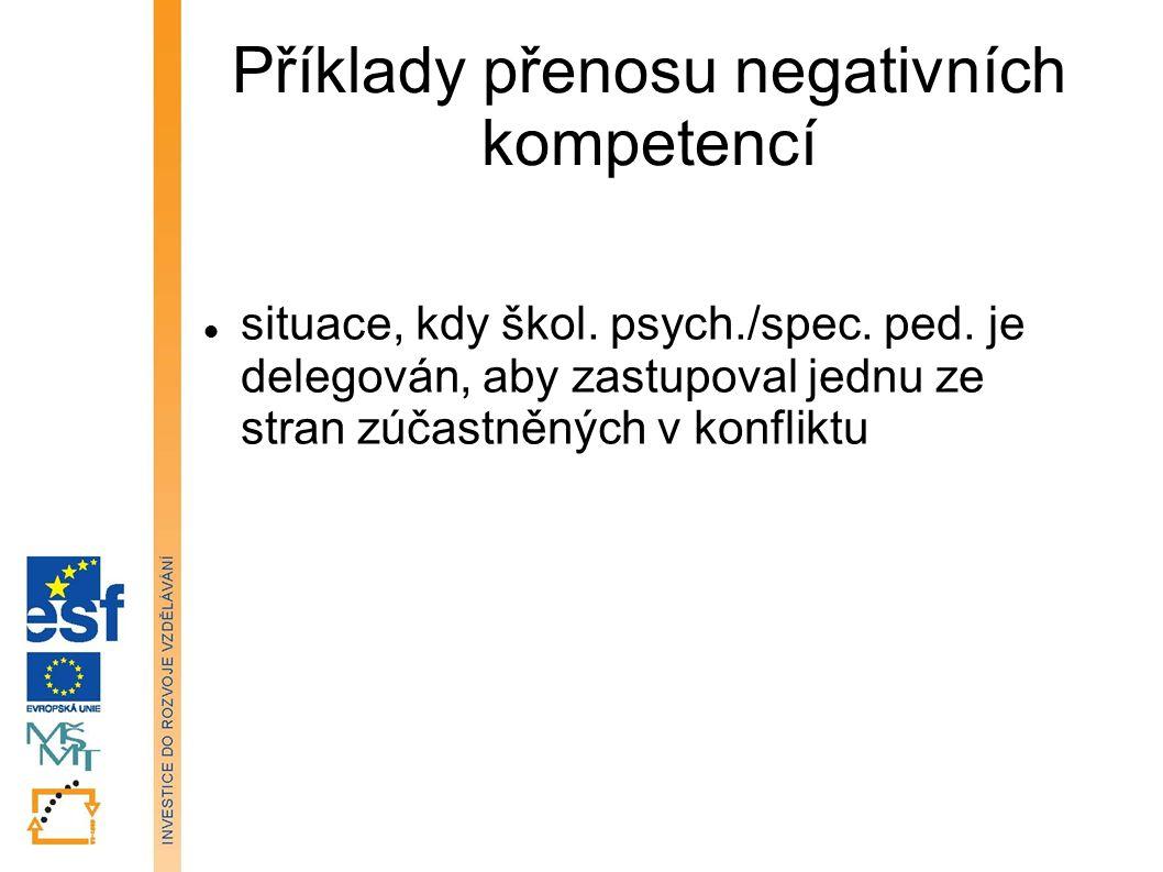 Příklady přenosu negativních kompetencí situace, kdy škol. psych./spec. ped. je delegován, aby zastupoval jednu ze stran zúčastněných v konfliktu Tato