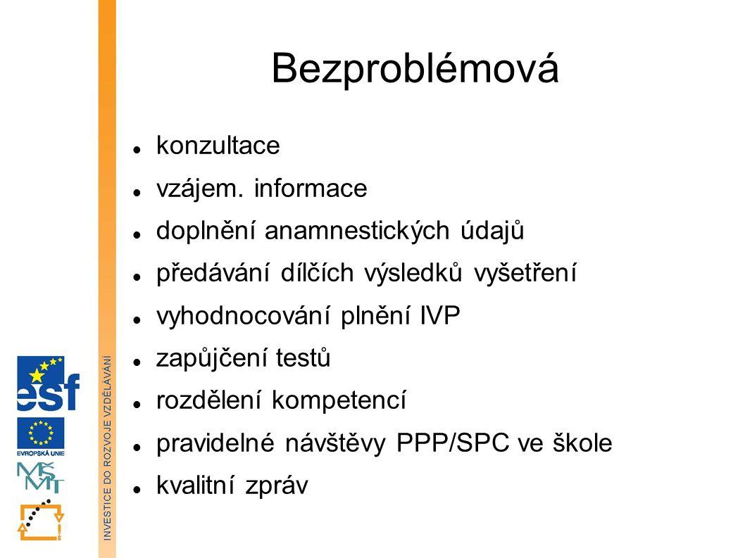 Bezproblémová konzultace vzájem. informace doplnění anamnestických údajů předávání dílčích výsledků vyšetření vyhodnocování plnění IVP zapůjčení testů