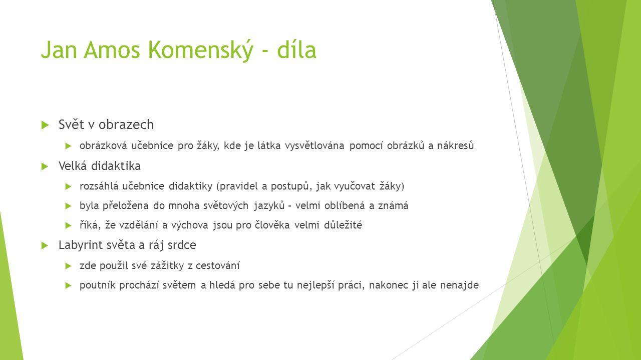 Jan Amos Komenský (materiál z muzea v České Lípě)