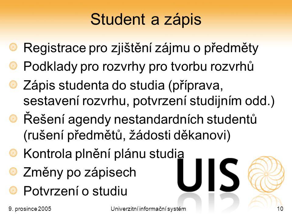 9. prosince 2005Univerzitní informační systém10 Student a zápis Registrace pro zjištění zájmu o předměty Podklady pro rozvrhy pro tvorbu rozvrhů Zápis